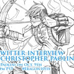 Our LIVE Twitter chat and interview with Christopher Paolini is TONIGHT at 8pm EST/5pm PST! #Eragon10th